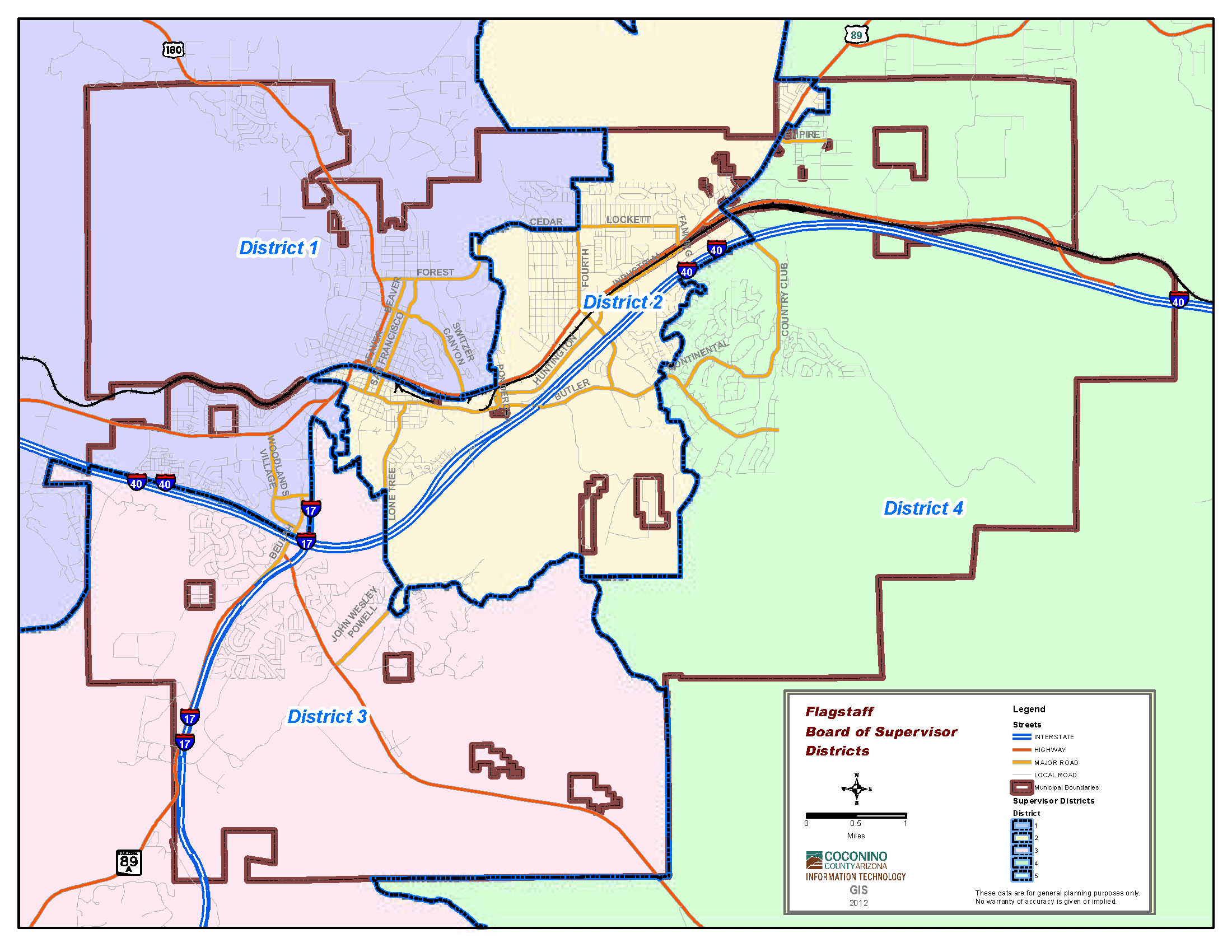 Map of Board of Supervisors - City of Flagstaff