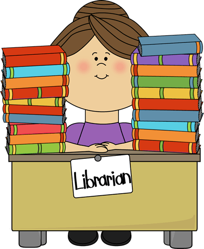 cartoon librarian with two piles of books