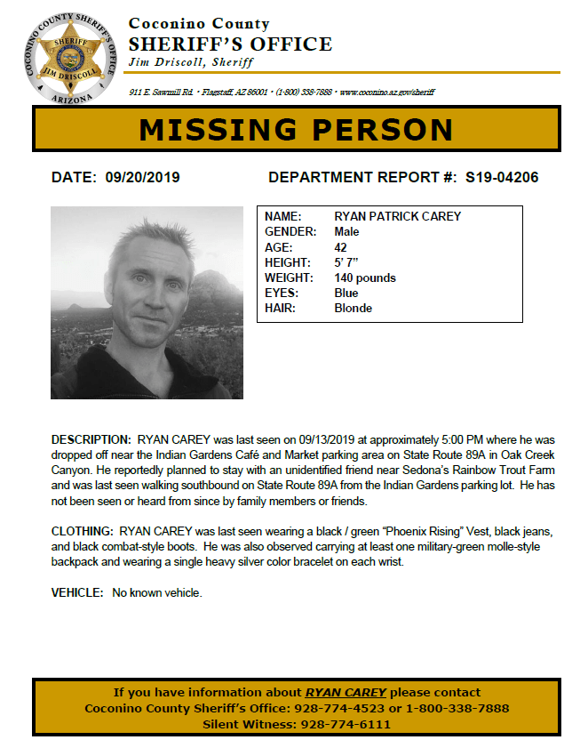 Missing Person Ryan Carey