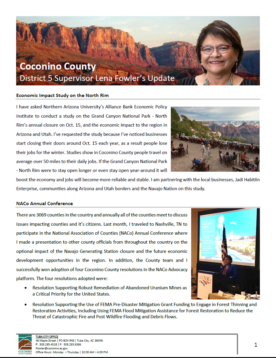 Quarterly newsletter page 1