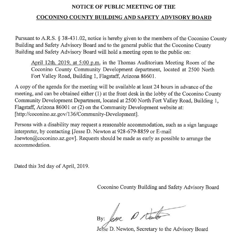 public notice march 28 2019 Coconino County Building and Safety Advisory Board