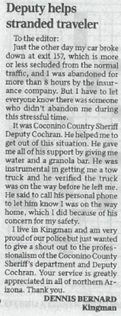 Coconino Sheriff Thanks Letter